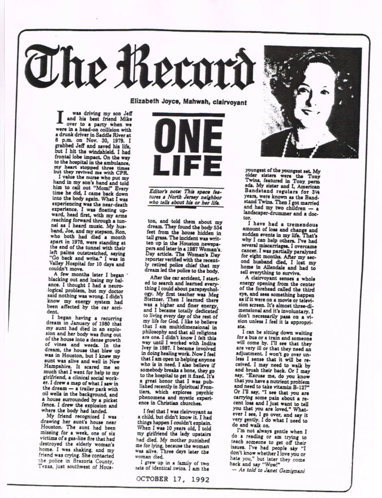Bergen Record - 10:92 - One Life